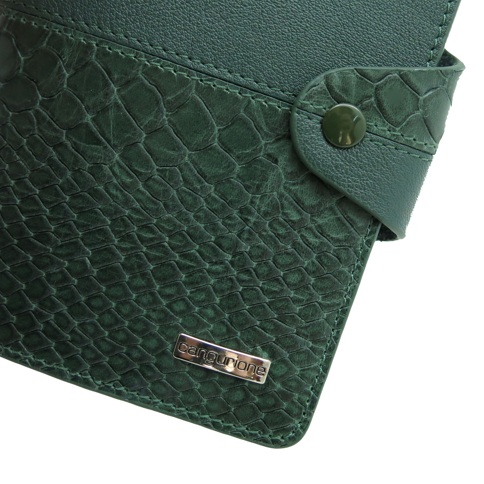 handmade crocodile leather cover passport green