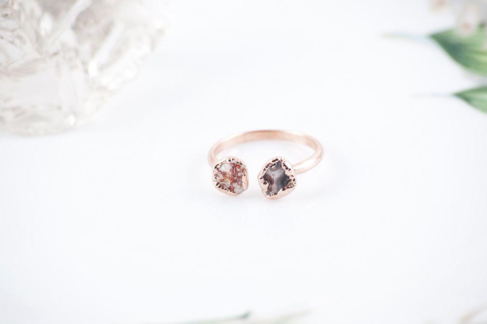gemstonering handmadering crystalring copperring mudlakemetals copperjewelry