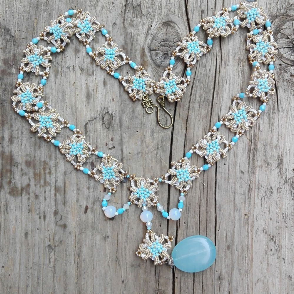 handmade gold white frivolite tattinglace skyblue necklace jewelry lace tatting