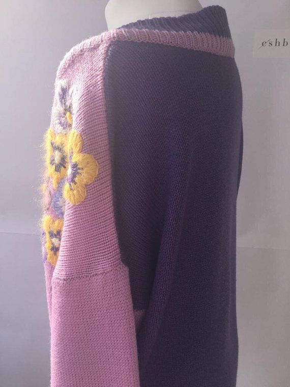 lilac violet sweater knit embroidered floral handmade exclusive oversized neck pullover knitted flower pastel embroidery