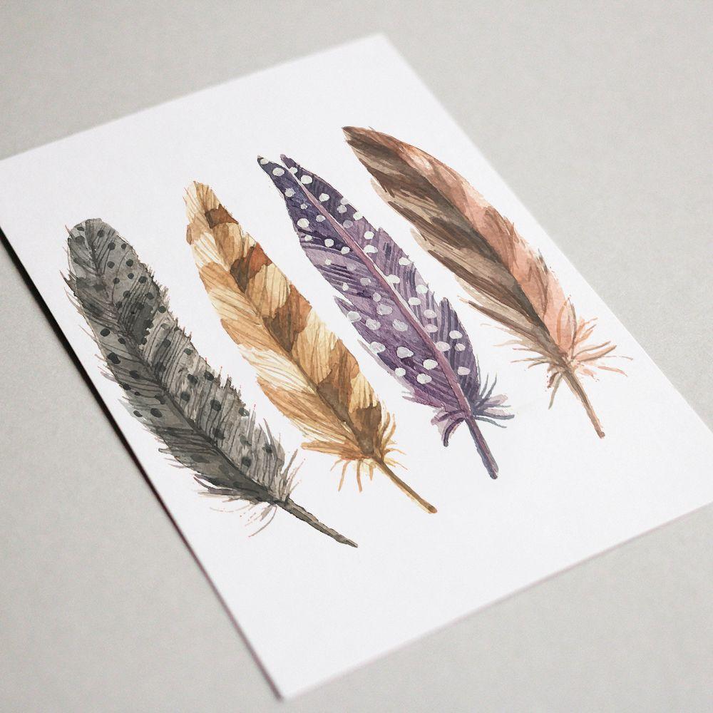 feather printable feathers boho wall watercolor print prints art