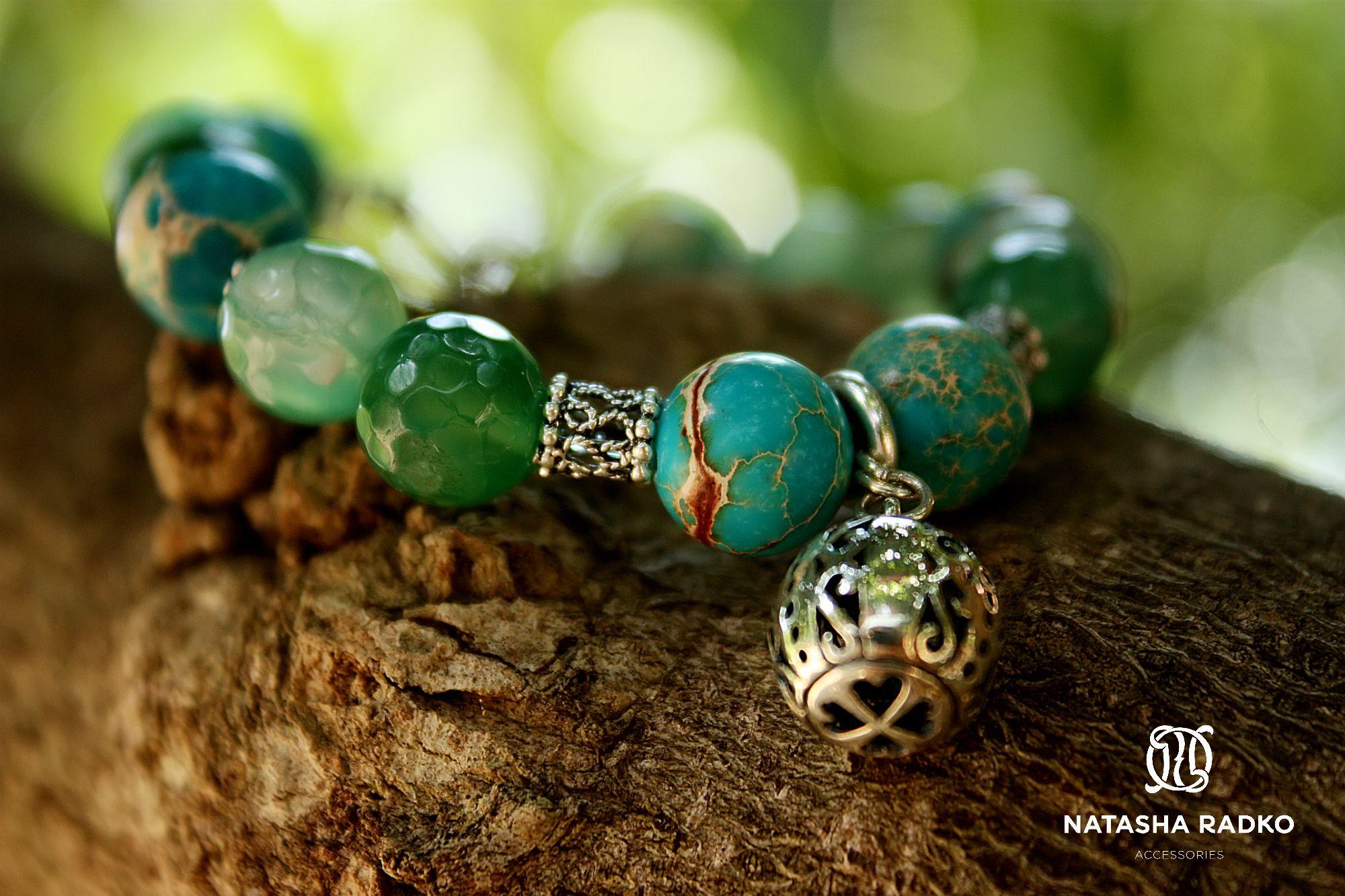 wristlet silver variscite agate emerald