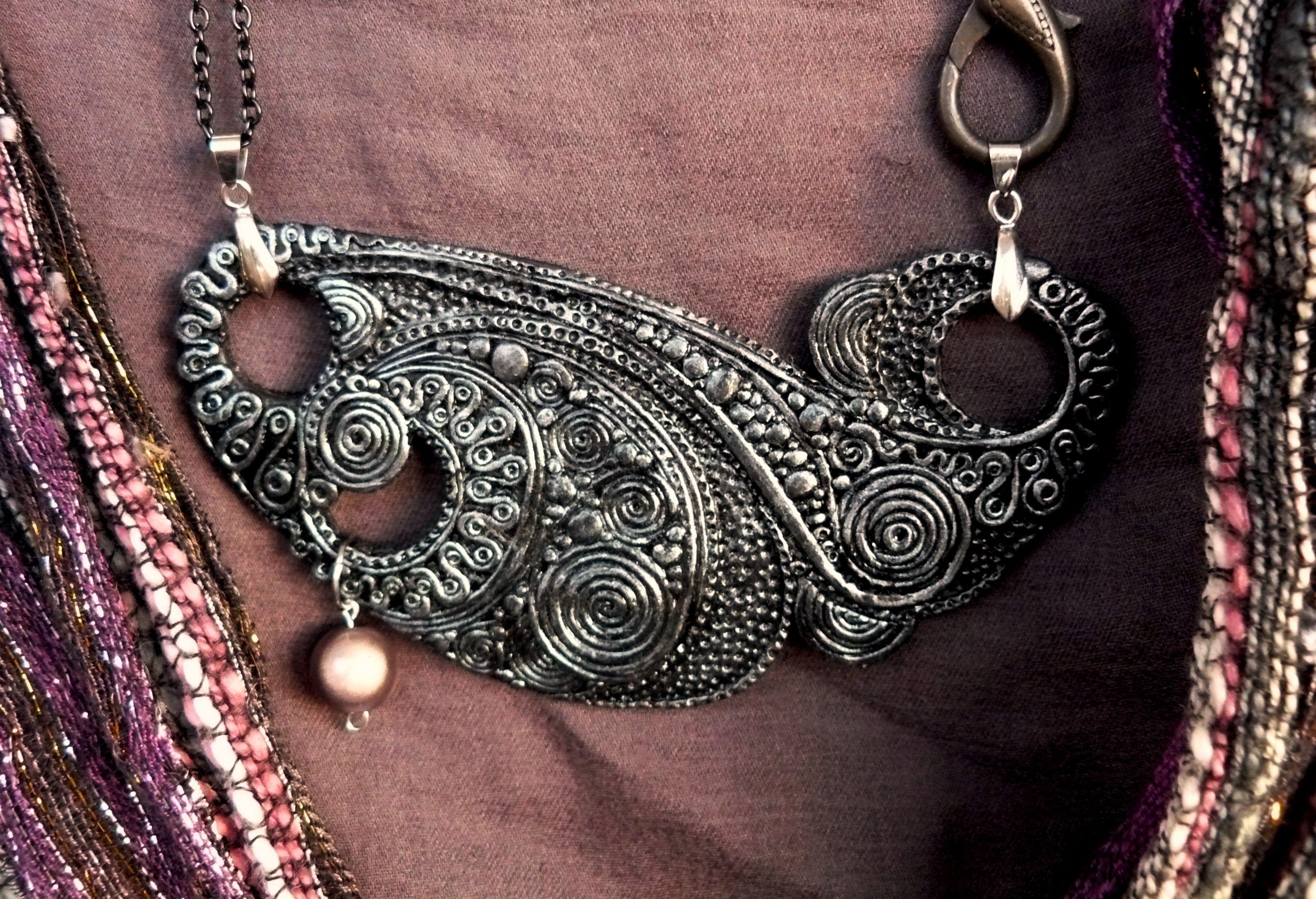 pendant grey jewelry clay silver
