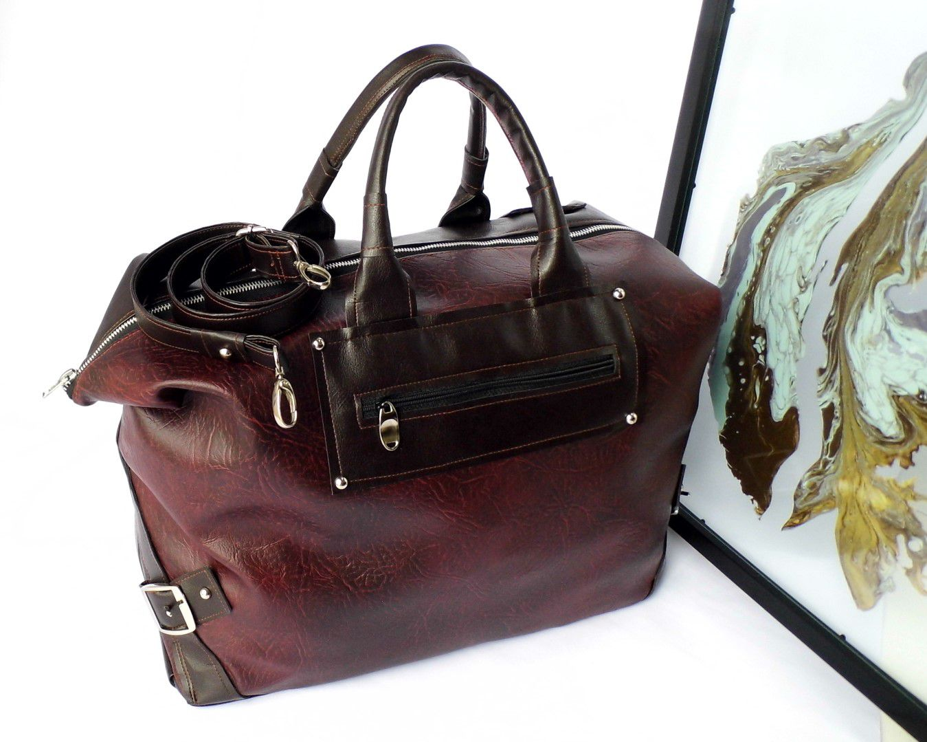 Travel Bag For Women Vegan Weekender Overnight Tote Burgundy Weekend Faux Leather Large Gifts
