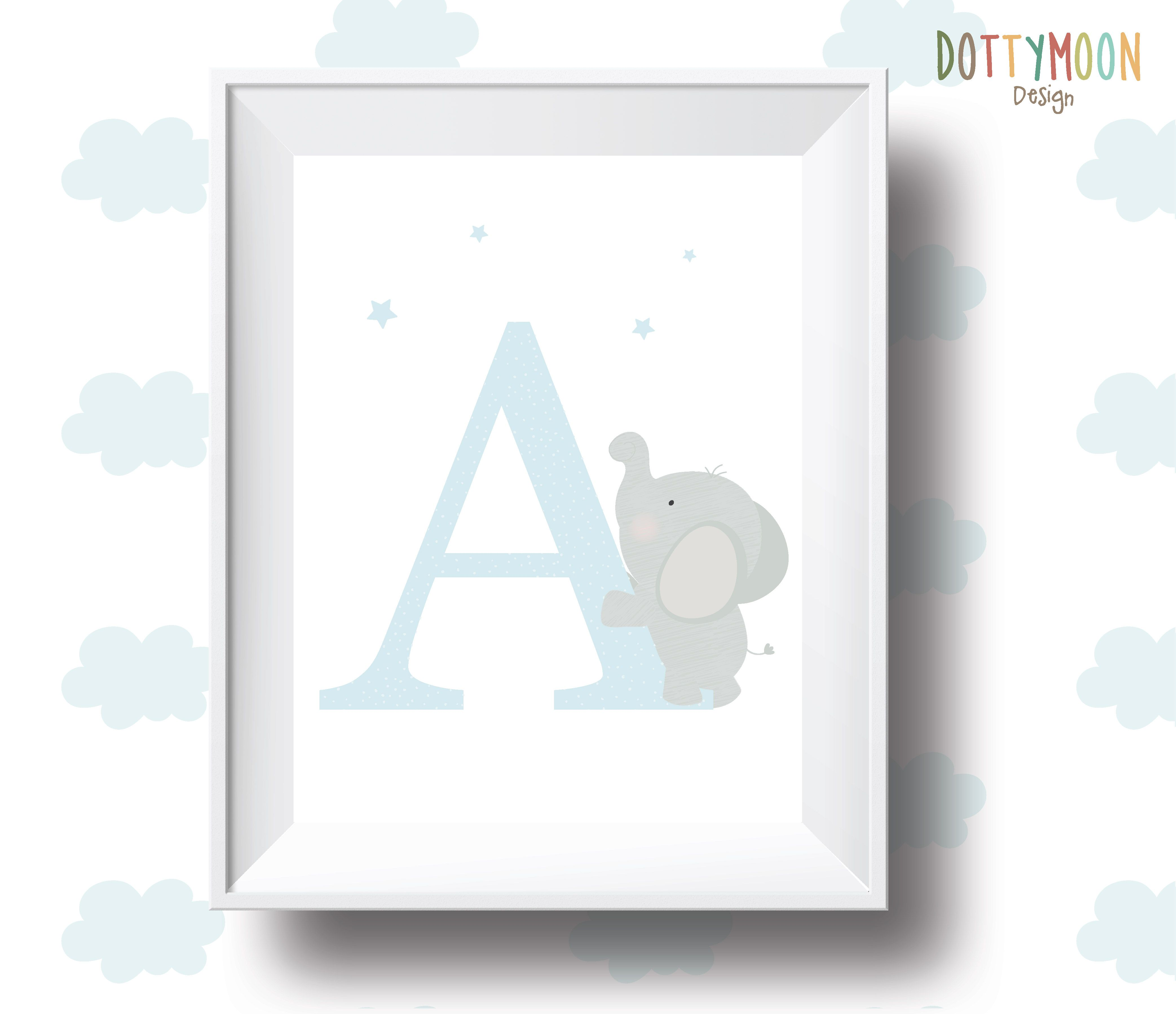 Letter Elephant Personalised Playroom Print Nursery Wall Art Baby Boy Poster Instant Digital Children
