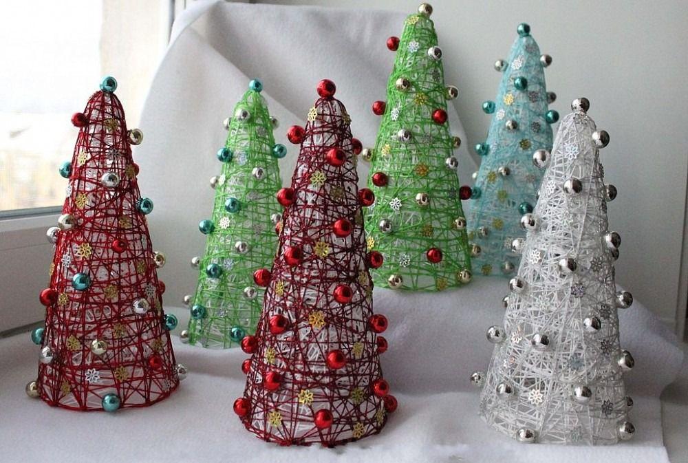 handmade holidays interior decoration christmastree handicraft thread diy creativeidea threadchristmastree