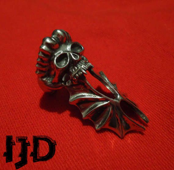 bat demon vampire satanic skull black lucifer jewelry metal pagan ring gothic