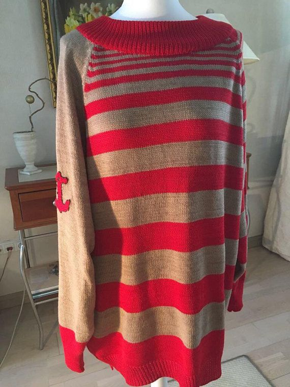 striped designer long sweater style knitwear loose red oversized marine anchor sailor pullover beige