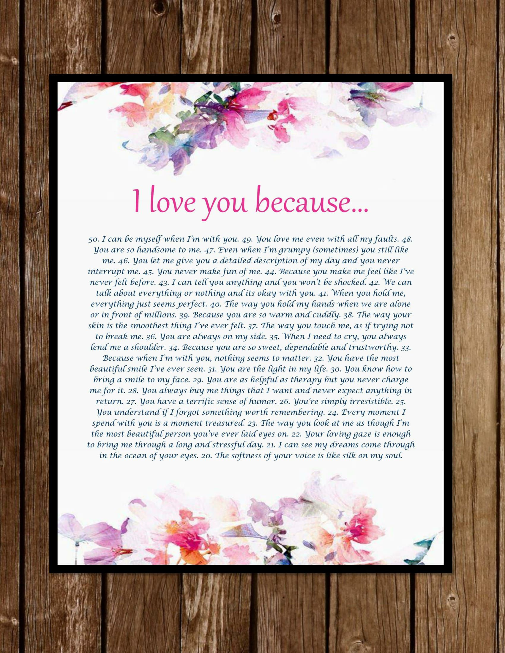 wife because boyfriend girlfriend you reasons gift anniversary present personalized her for love