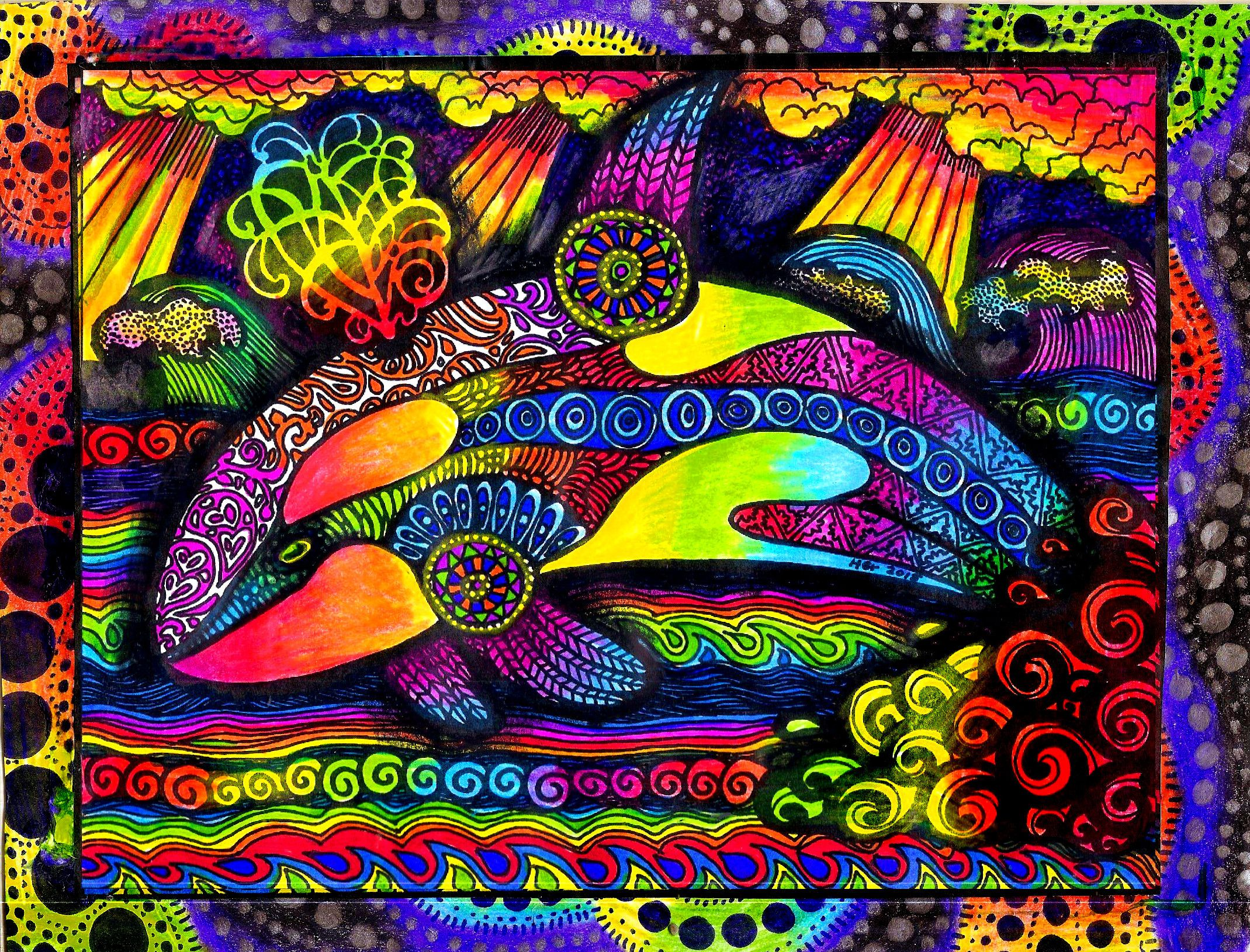 colorful hgcreativearts rainbow whale sealife drawing artwork art
