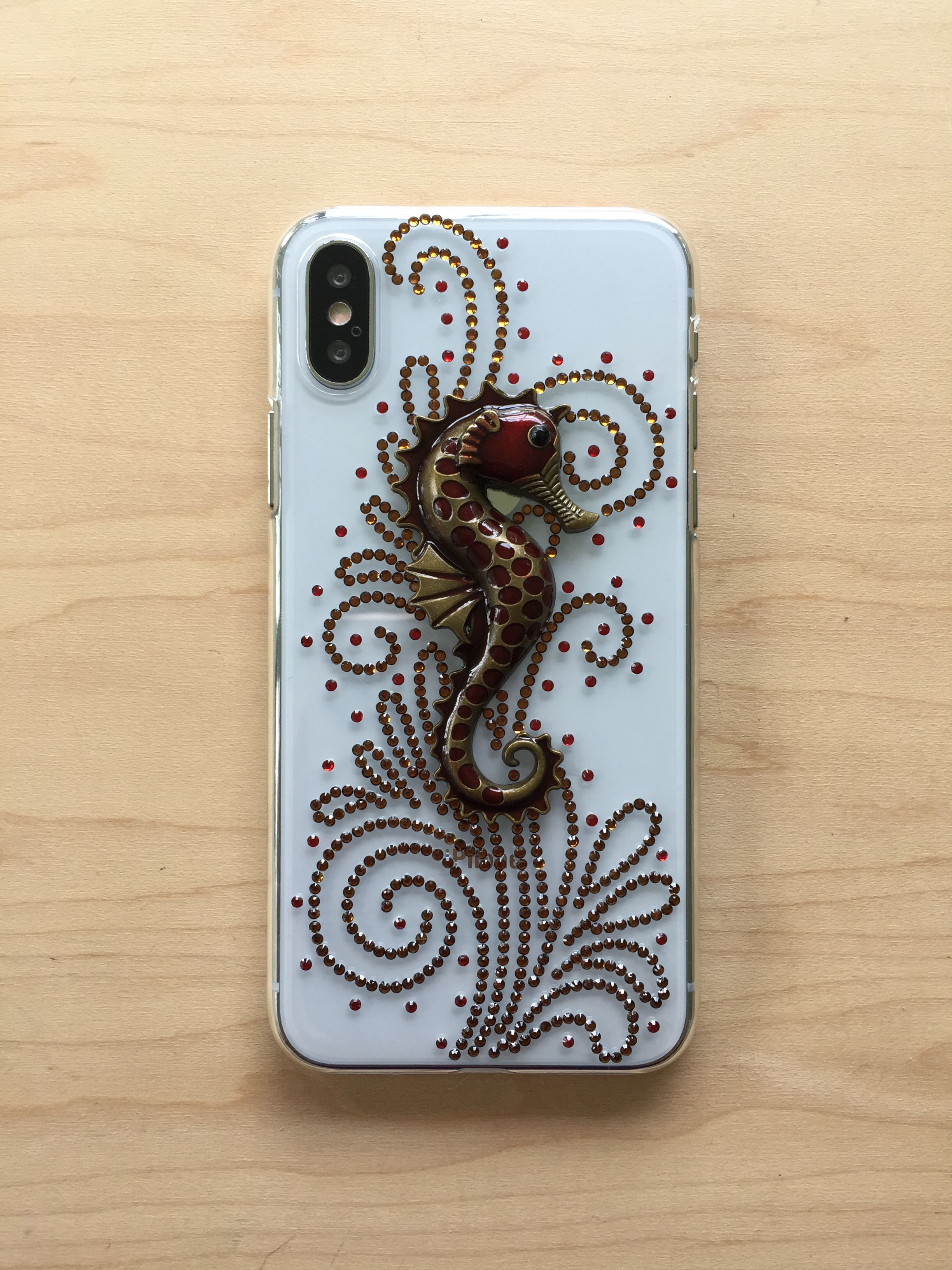 nautical bling copper unique sea rhinestones transparent bedazzled ocean iphone red handmade seahorse silver charms