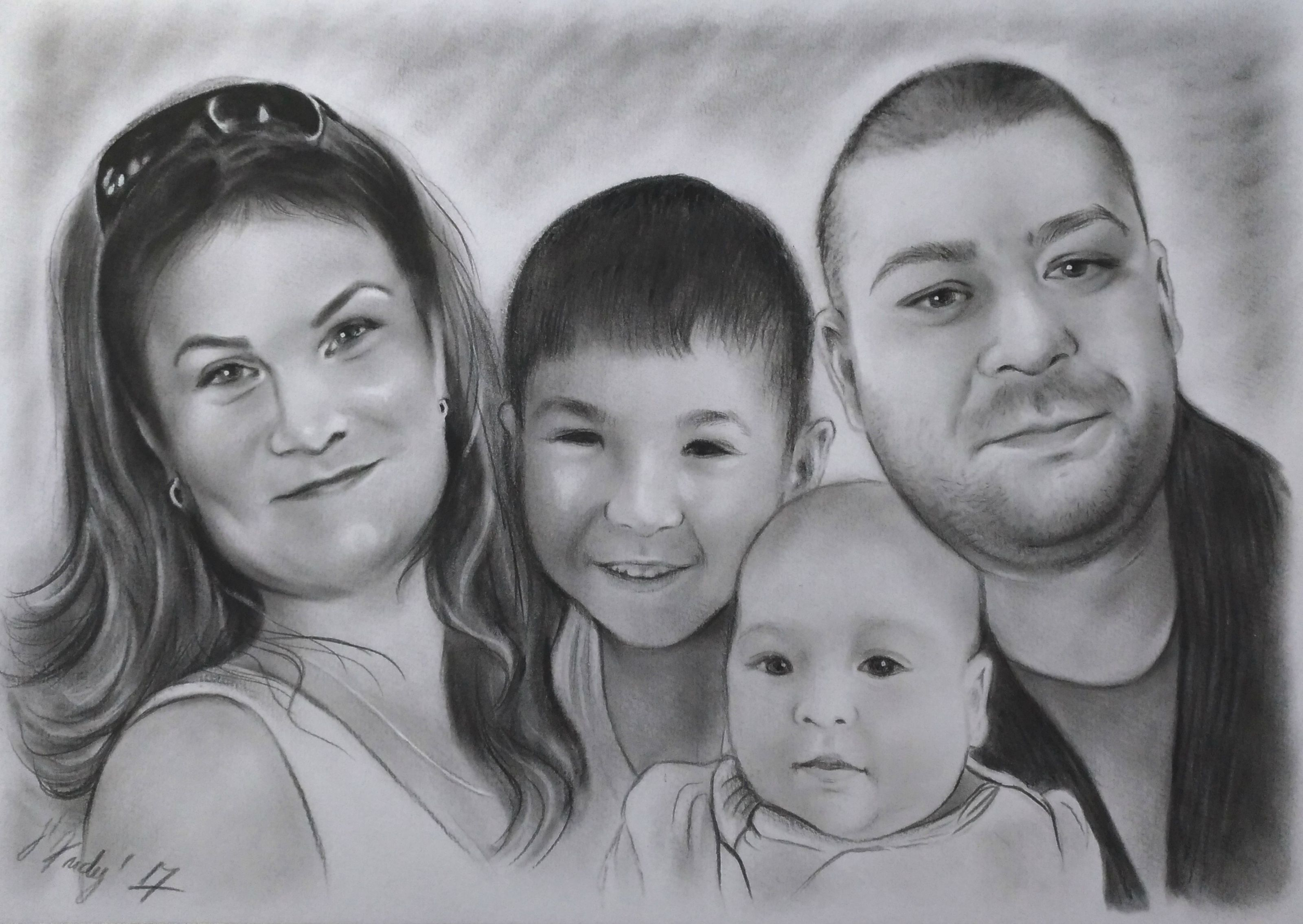 drawing christmasgift customportrait familyportrait giftideea bespokeart