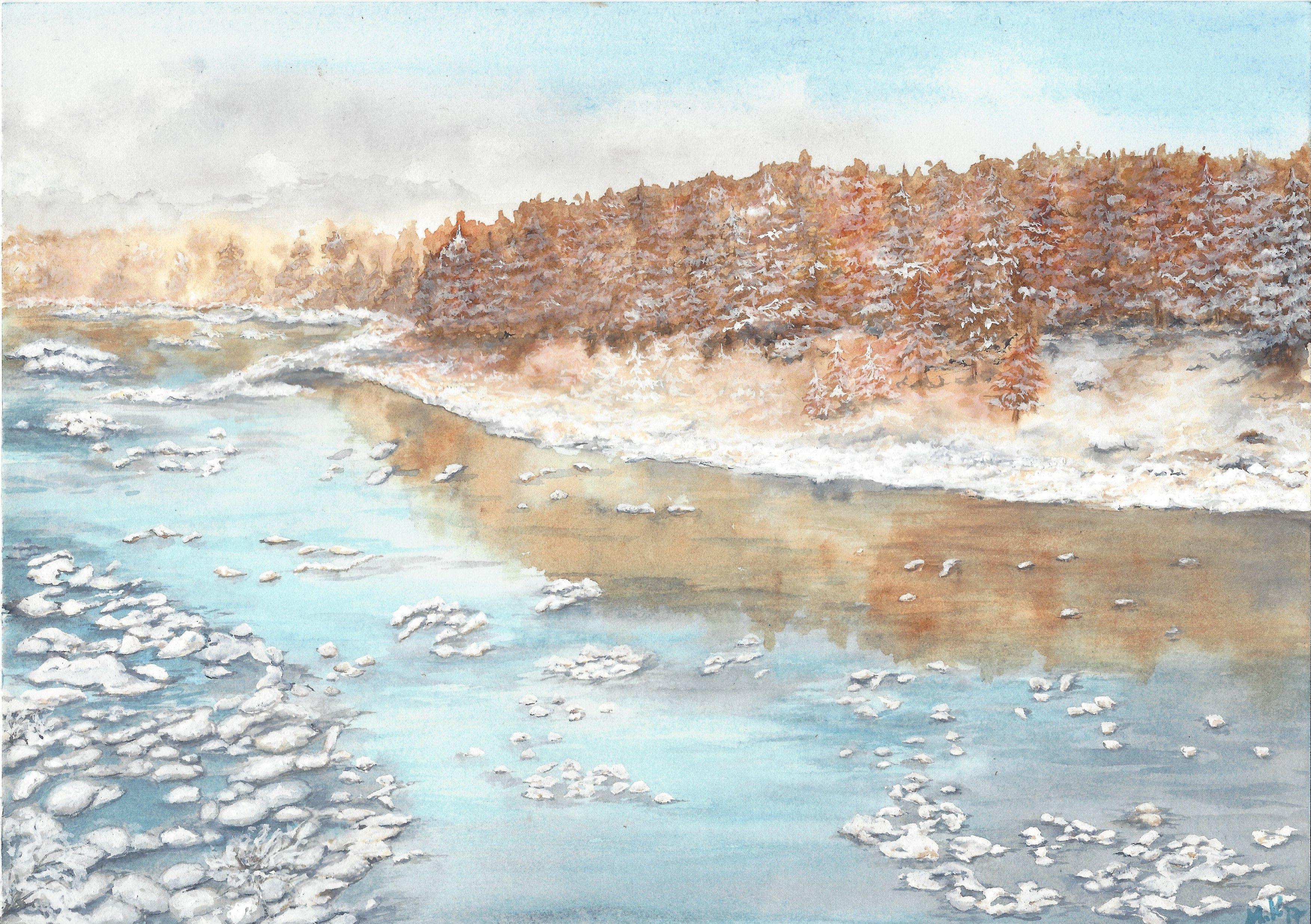 landscape wallart walldecoration winterpainting riverpainting christmasgift watercolor homedecor