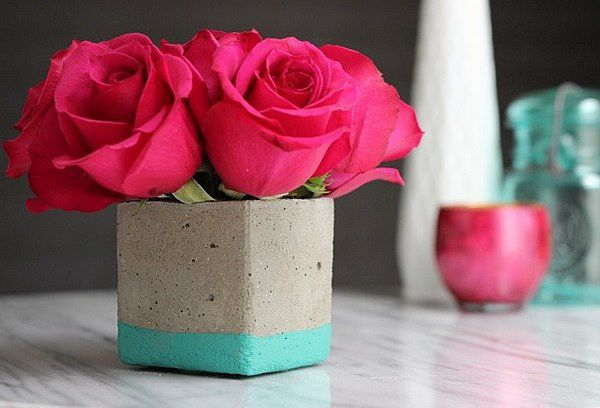 flowers simple beautiful concrete minimalistic vase handmade tutorial modern
