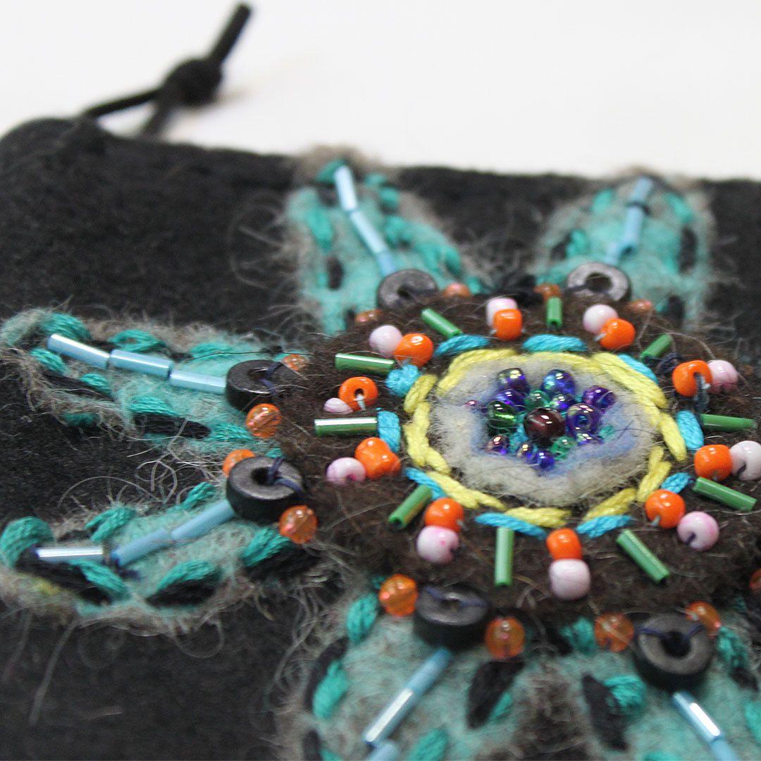 beads accessories bag purse felt