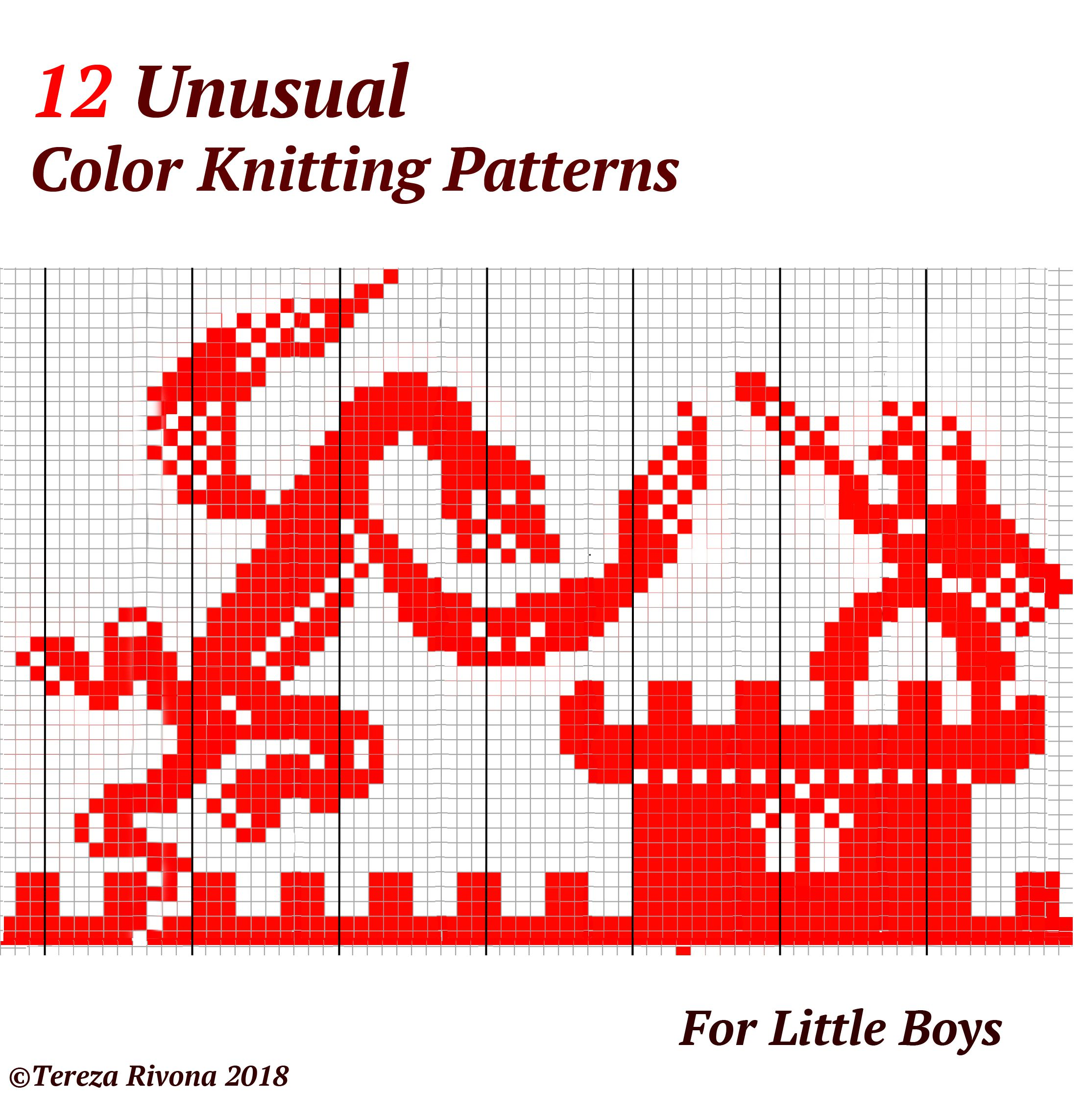 color robot dinosaur football car knitting chart pattern child boys