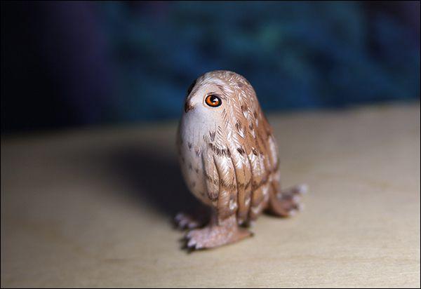 sad owl acryl sculpey