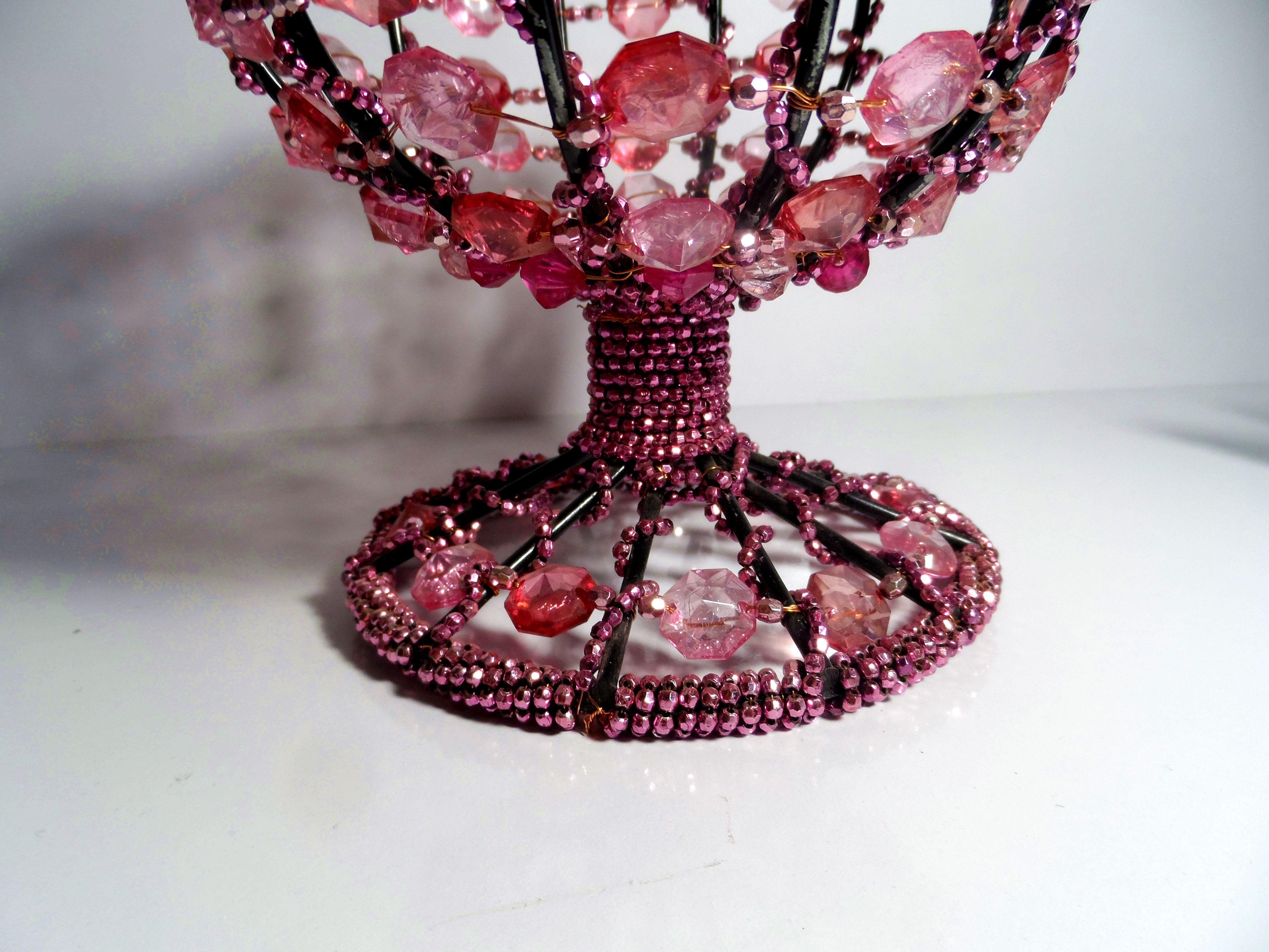 sugar pink beaded footed bowl