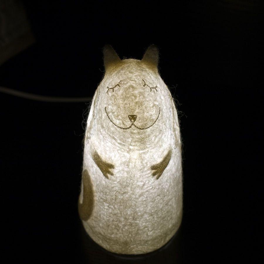 felt white nightlight cat lamp angel silk wings