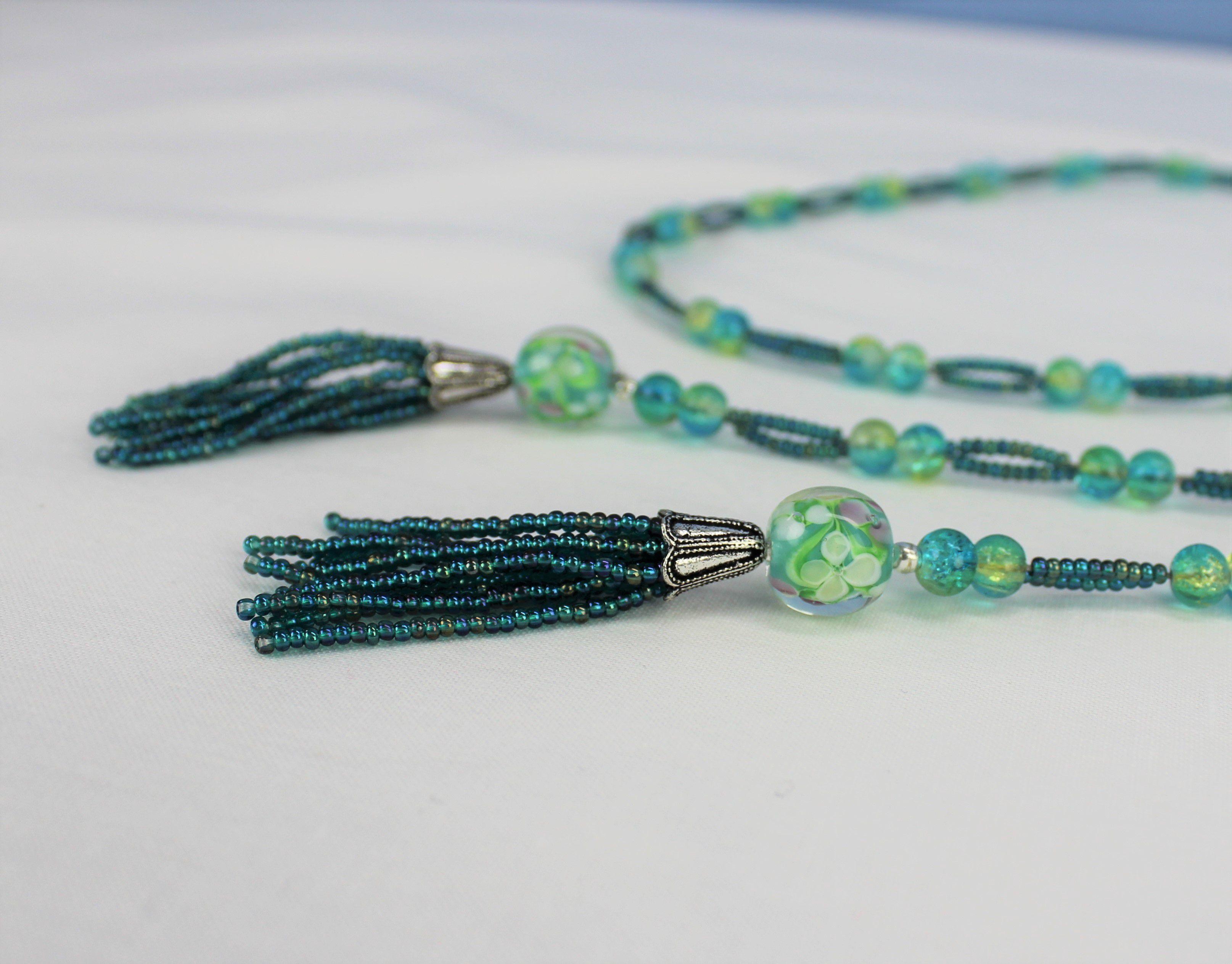 open glass aqua green long trendy beaded boho ended blue necklace tassel beads