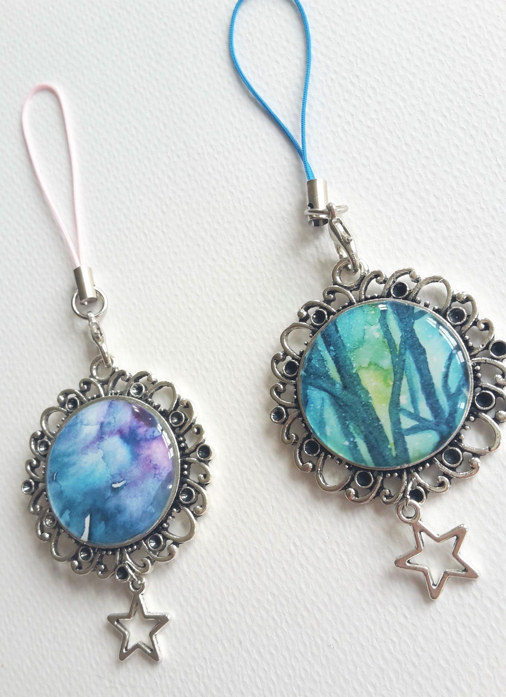 handmade art cute jewelry artist charms galaxy nebula keychains