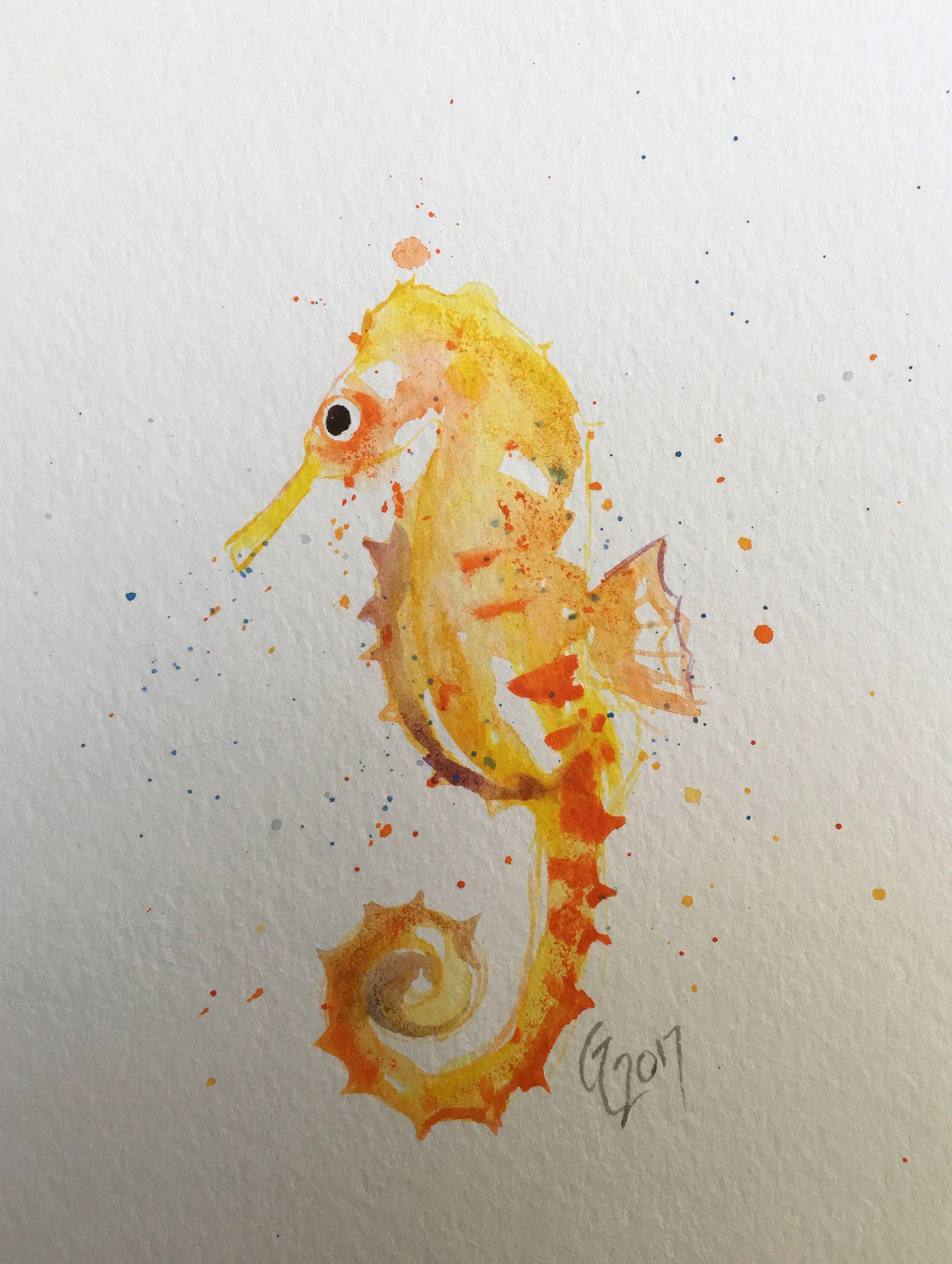 original sea decor beach watercolor seahorse fish art