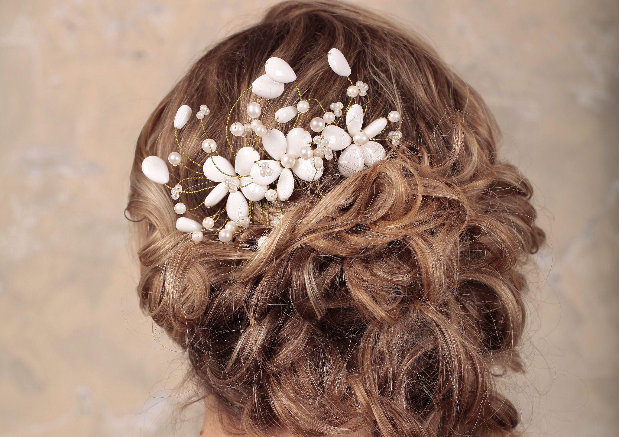 hair accessory handmade comb wedding