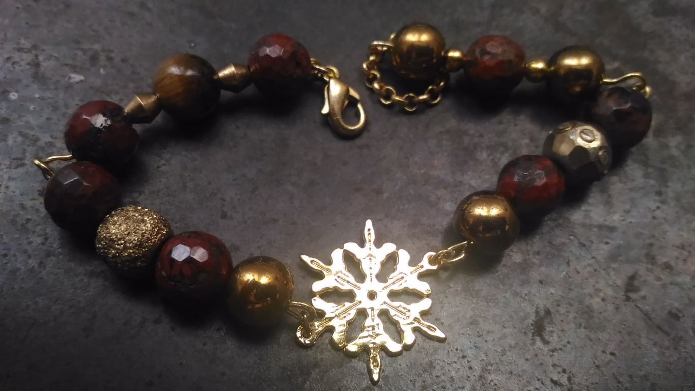 gift jasper bracelet christmas golden snowflake tigereye red