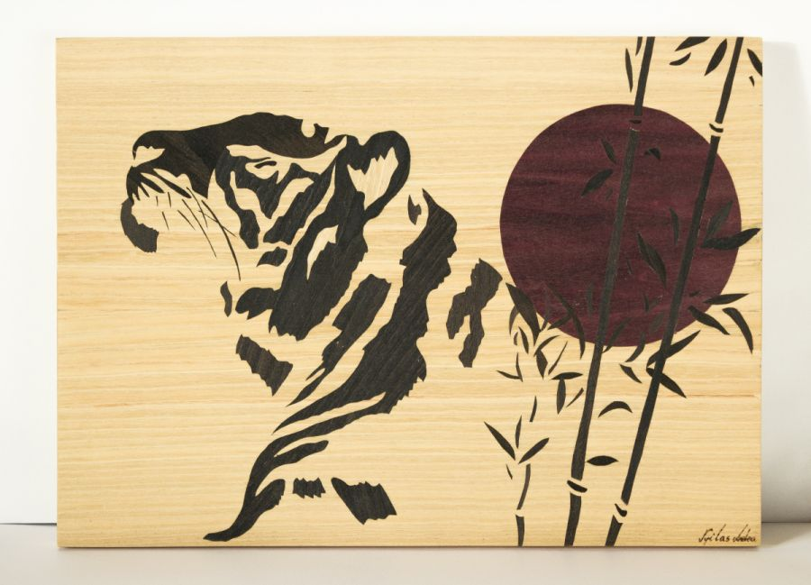 cats japanese bamboo animal sunset tiger zen marquetry