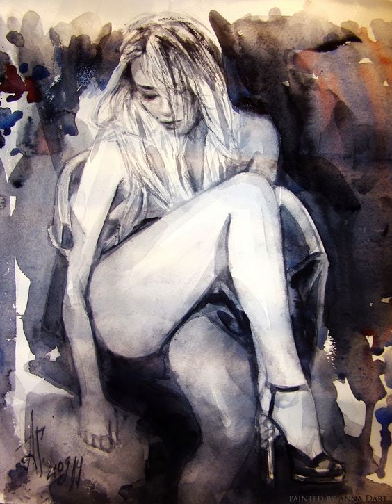 girl oil watercolor woman contemporary sensuality romance erotic artwork art