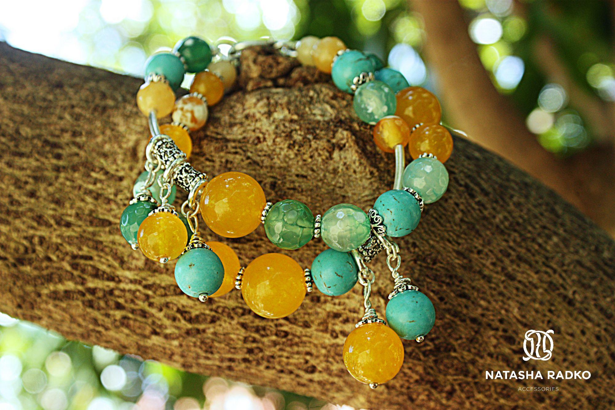 emerald agate wristlet jewelry howlite jade