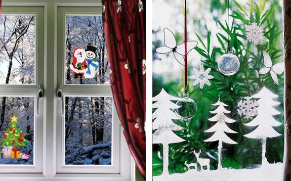 window decorate garlands holidays candles christmas stickers