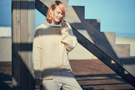 comfy white sweater cowl asymmetric thick off handmade turtleneck neck pullover beige winter