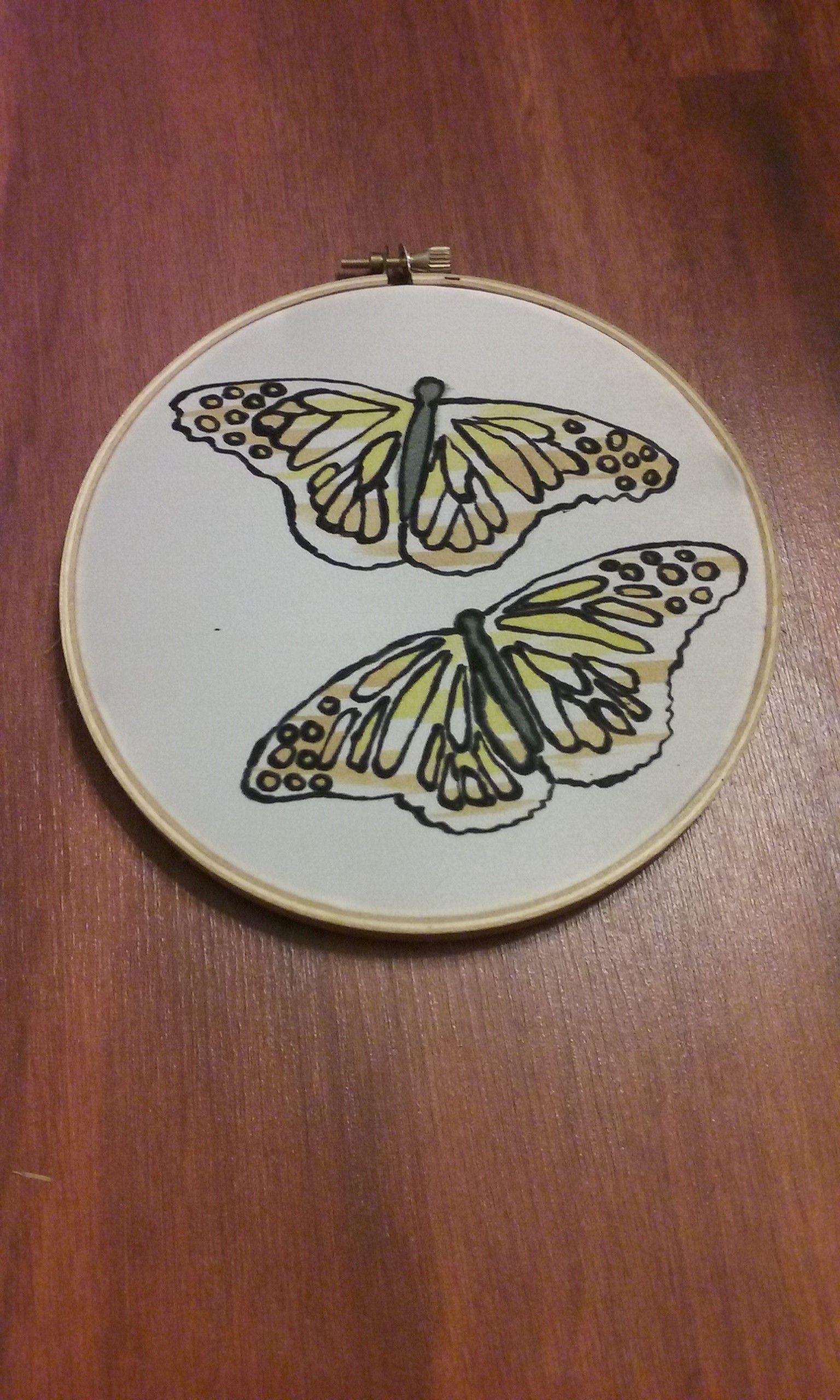 handmade art painting decor silk butterfly butterflies wall