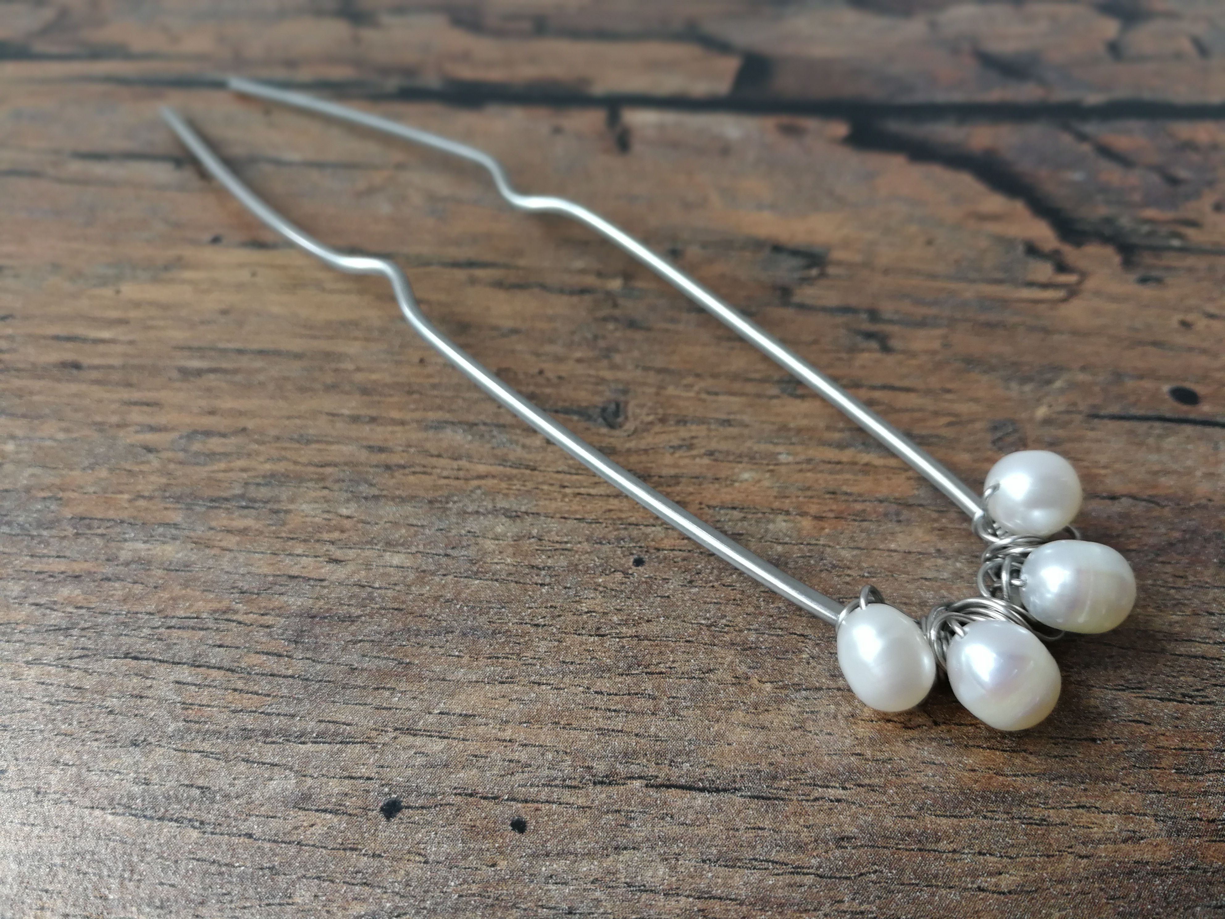 hair accessories fork wire steel stainless wrapped pearls jewelry freshwater wedding
