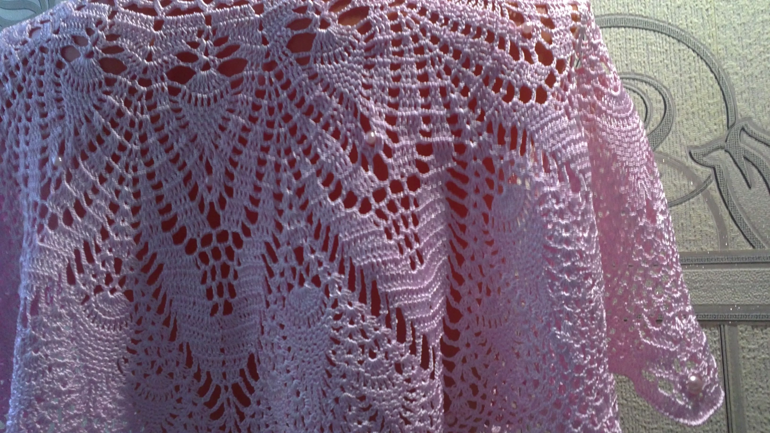 handmade palepink openwork cape