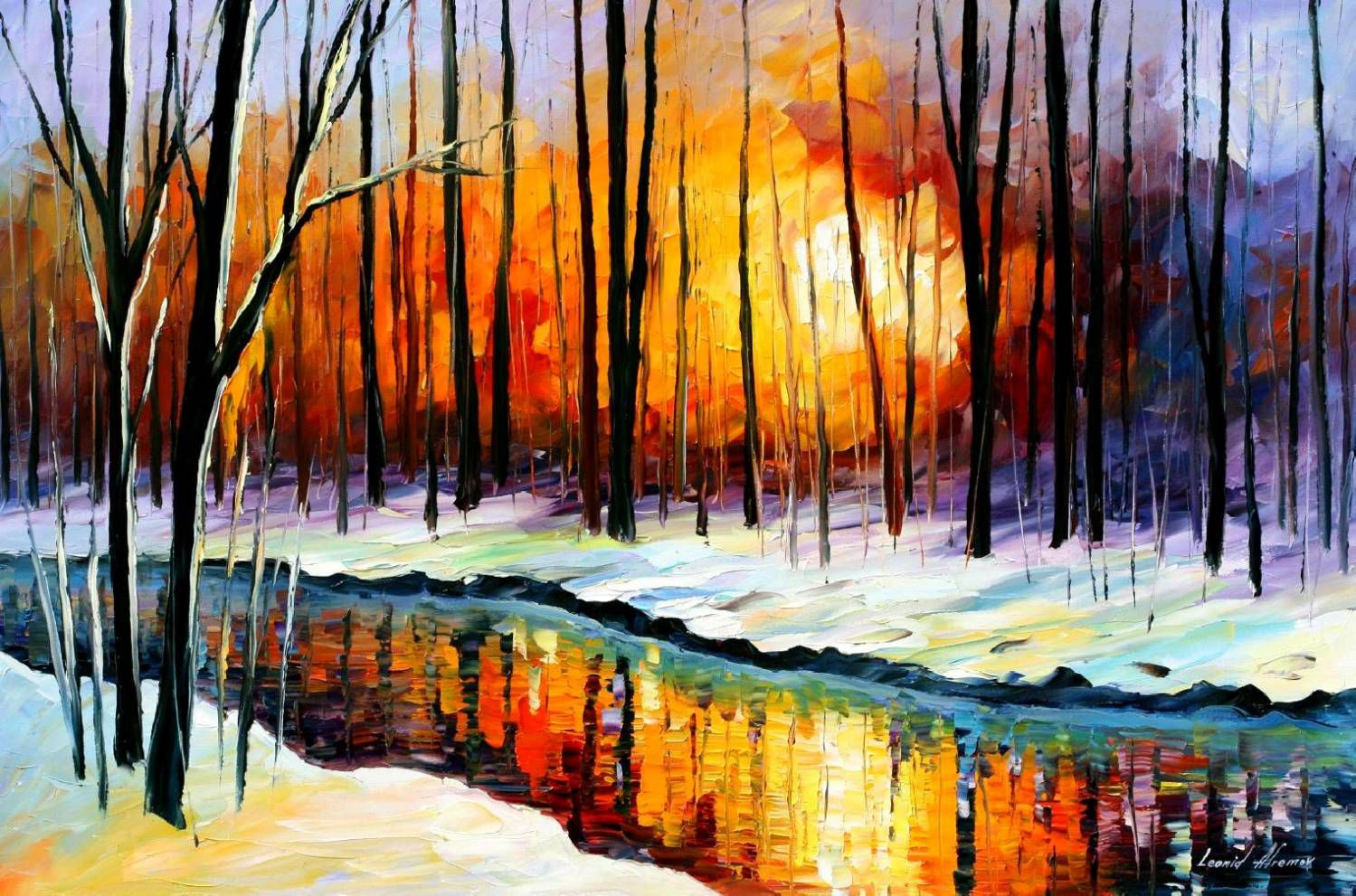 art painting interior winter picture