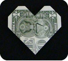 dollar money origami heart folding