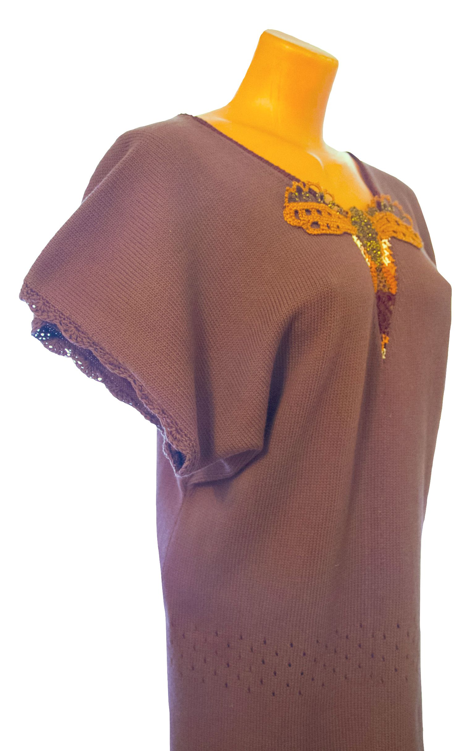 brown pattern customdesigned summer knitted tunic