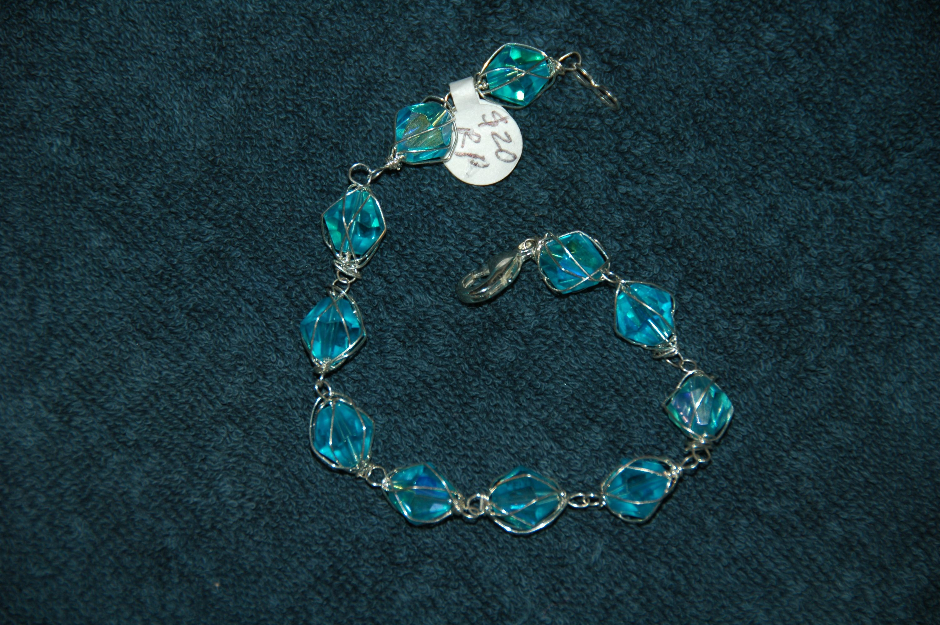 bracelet silver jewelry wire turquoise crystal wrapped