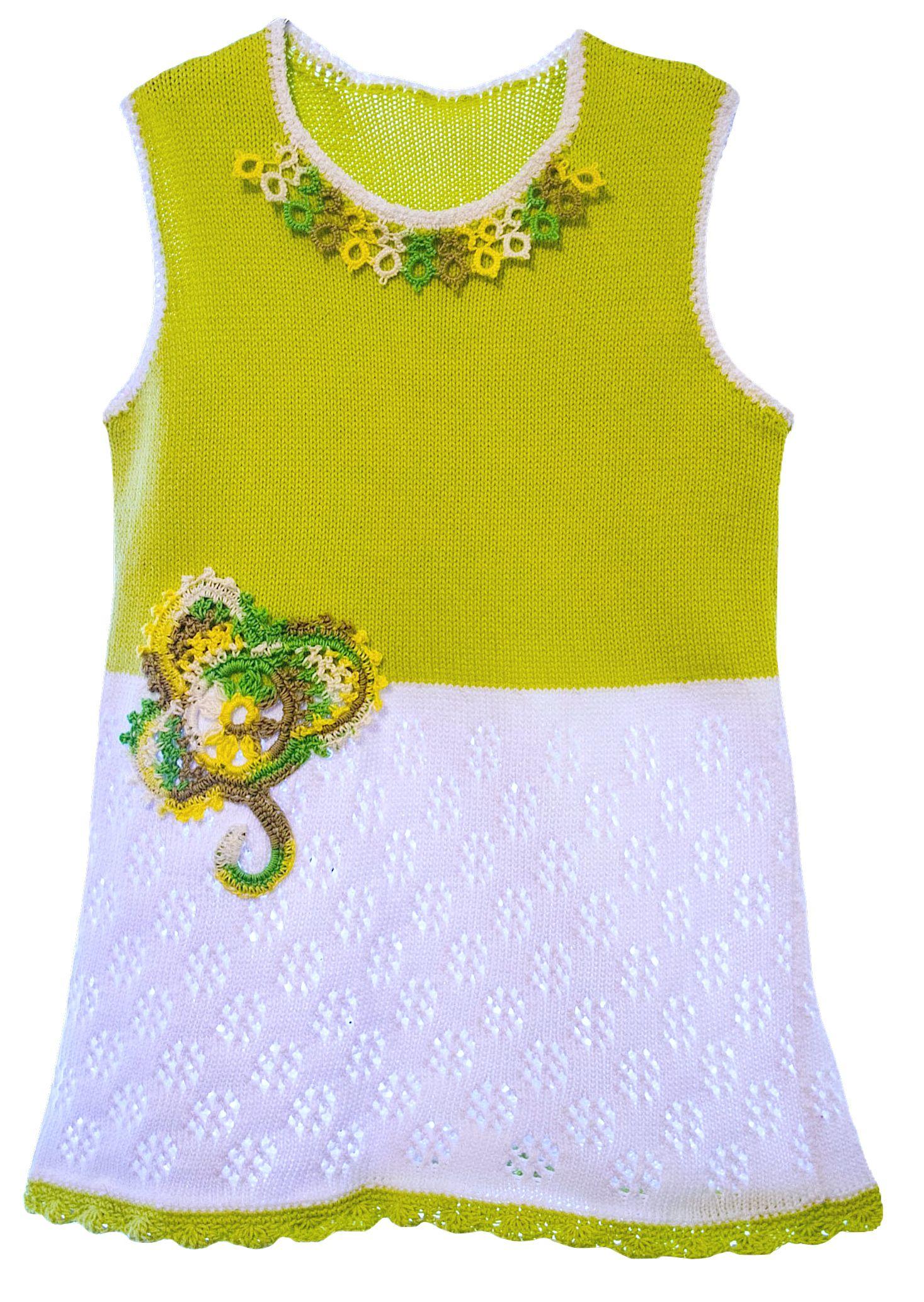 girl dress clothes tatting cotton tunic multicoloured children monochrome knit