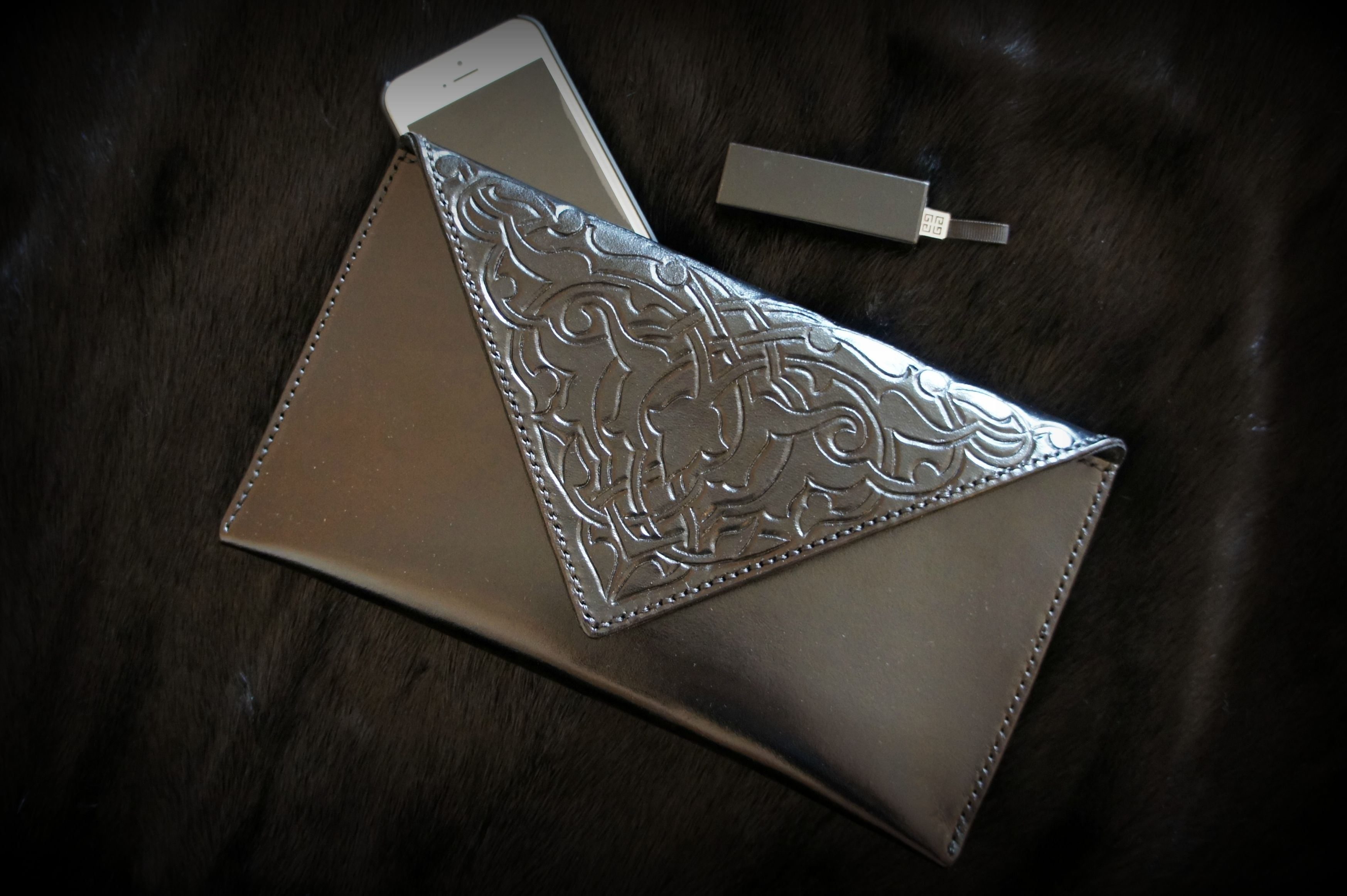 leather silver accessories bag grey clutch