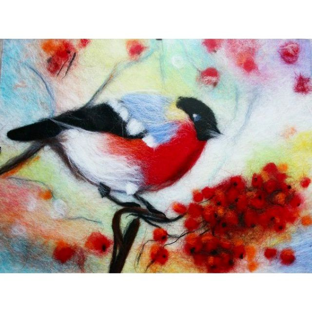 painting wool bullfinch watercolor