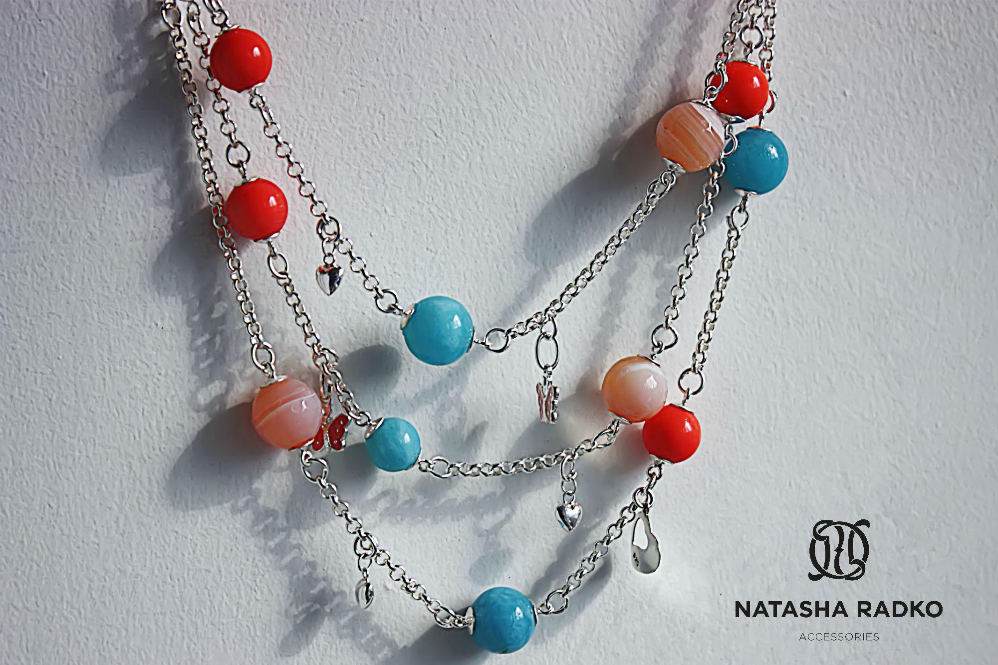coral quartz agate blue jewelry necklace
