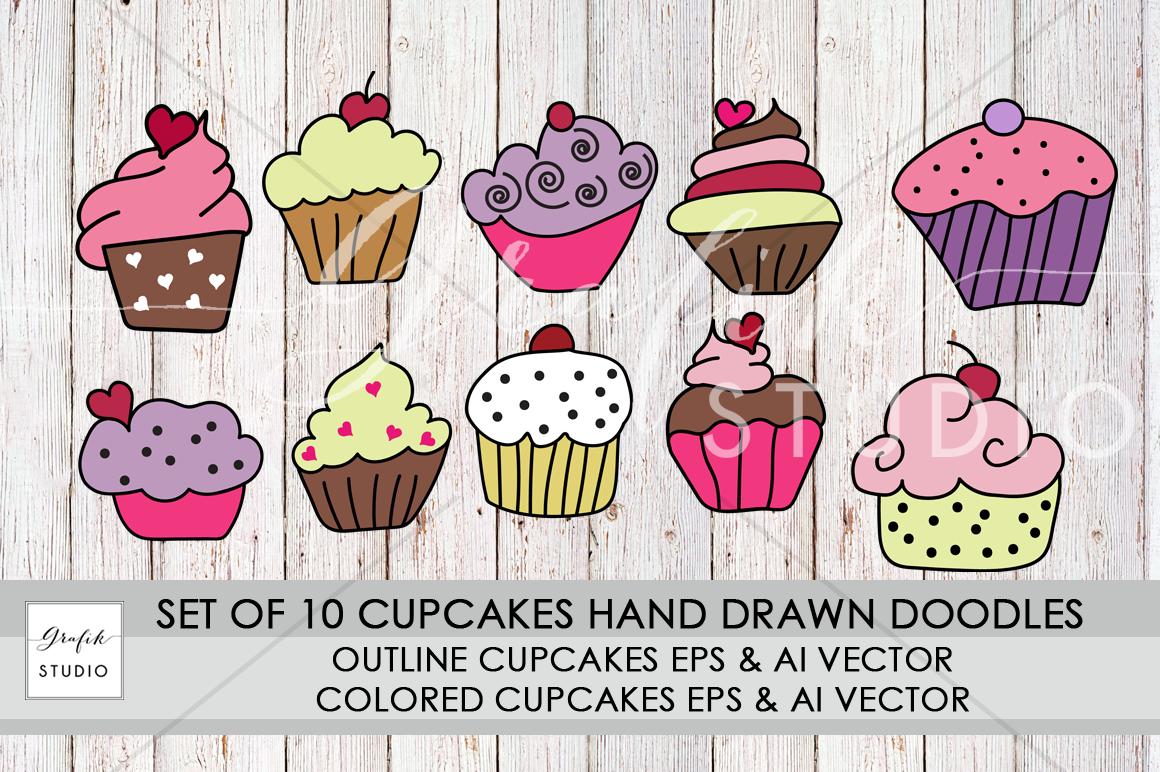 illustration cupcakes graphics doodles vectors doodlesvectors cupcakevectors