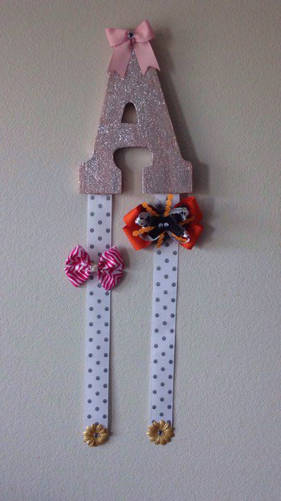 letter gift bow personalized girls holder for