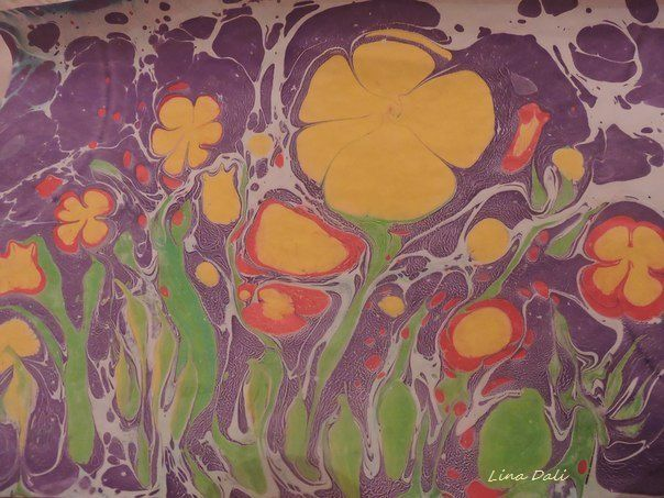 flower gift art painting ebru workshop