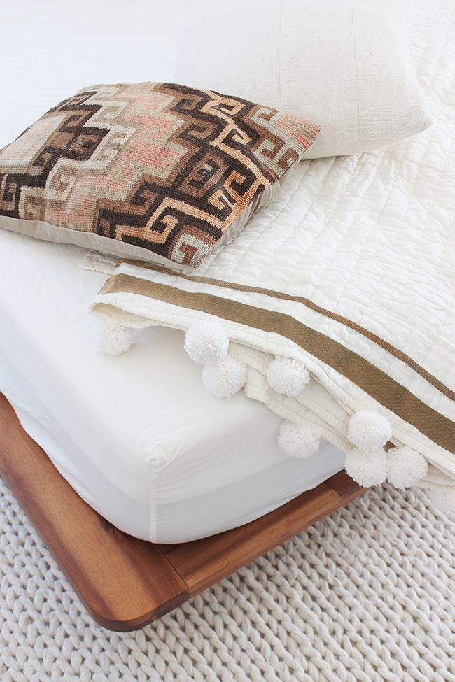 design pompom house pastel bedding interrior blanket