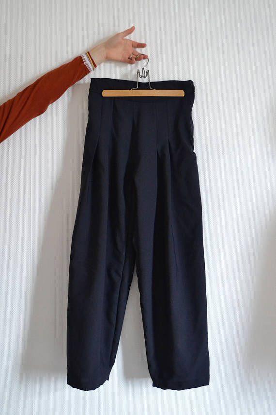 comfy simple folds plain chique wide mode pants blue woman modern zipper