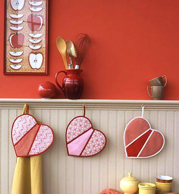 goods textile potholders make heart